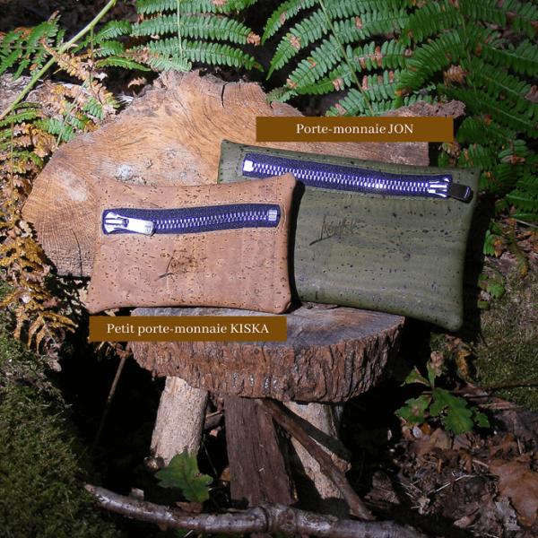 Porte-monnaie KISKA-petit-maroquinerie vegan en liège-fabriqué en France-artisanat
